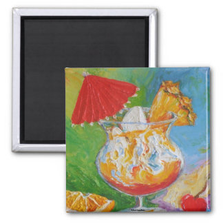 Mai Tai & Pineapple Mixed Drink Square Magnet