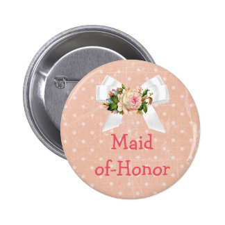 """""""Maid of Honor"""" Baby Shower Button Coral"""