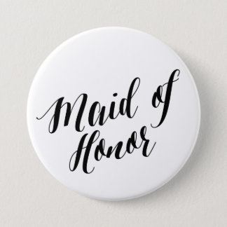 Maid of Honor Black Script Button