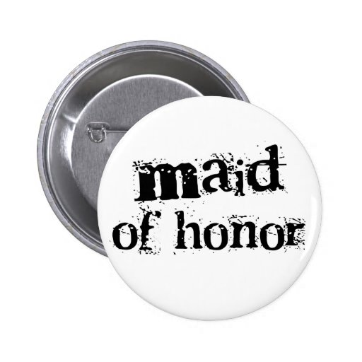 Maid of Honor Black Text Button