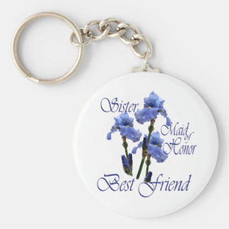 Maid of Honor/ Blue Iris Basic Round Button Keychain