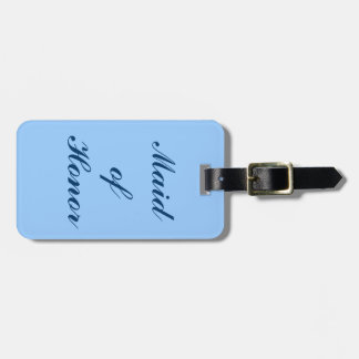 Maid of Honor, Blue Scroll Luggage Tag in Blue