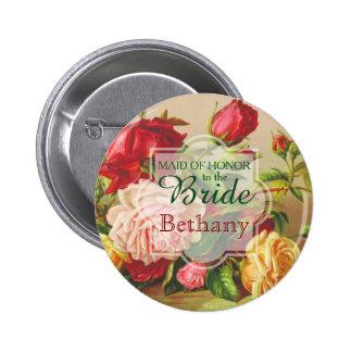 Maid of Honor Bride Wedding Vintage Victorian Rose 2 Inch Round Button