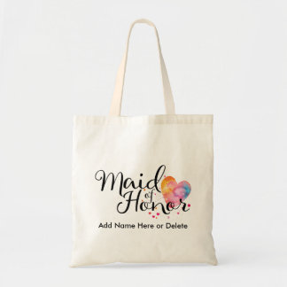 Maid of Honor Budget Tote Bag Watercolor Heart