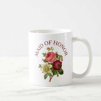 Maid of Honor Burgundy Pink Rose Bouquet Mug