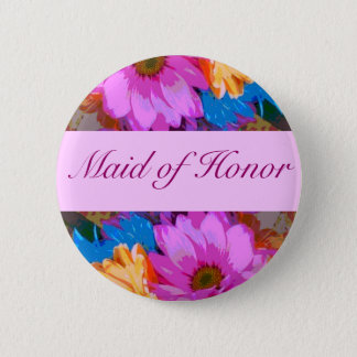 """Maid of Honor"" - Crazy Daisies (1) 2 Inch Round Button"