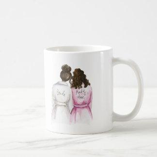 Maid of Honor? Dark Br Bun Bride Br Curly Maid Basic White Mug