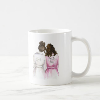 Maid of Honor? Dark Br Bun Bride Br Curly Maid Coffee Mug
