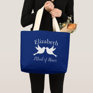 Maid of Honor Doves Love Large Tote Bag