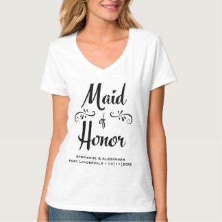 Maid of Honor Elegant Black White Rehearsal Dinner T-Shirt