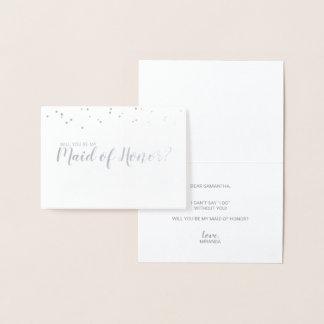 Maid of Honor Elegant Confetti Silver Foil Card