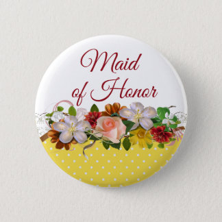 Maid of Honor Floral Bouquet Wedding Button