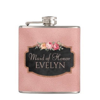 Maid of Honor | Floral Rose Gold Wedding Flask