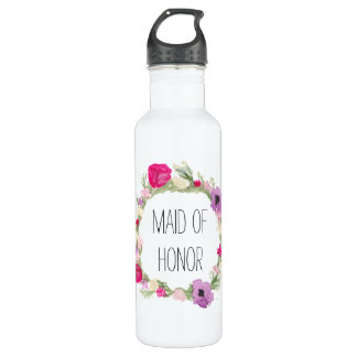 Maid of Honor Floral Wreath Watercolor 710 Ml Water Bottle