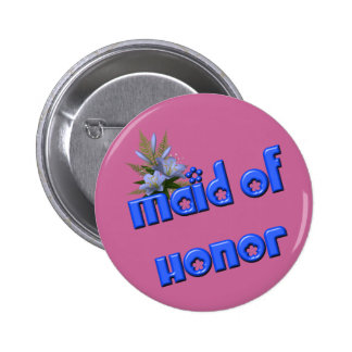 Maid Of Honor Flower Bouquet Button Pin