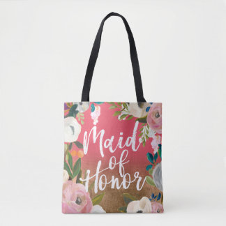 Maid of Honor Gold Fade Floral Wedding Party Tote