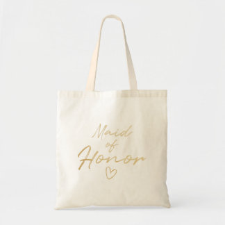 Maid of Honor - Gold faux foil tote bag
