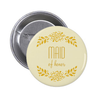 Maid of Honor Gold Wreath 2 Inch Round Button
