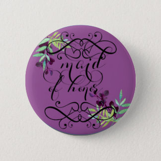 maid of honor in plum 2 inch round button