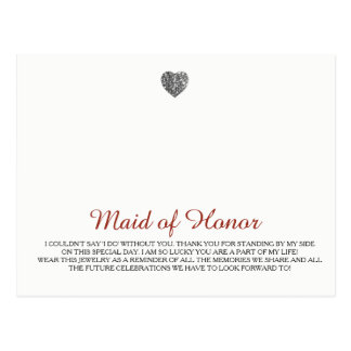 Maid of Honor Jewelry Template Postcard