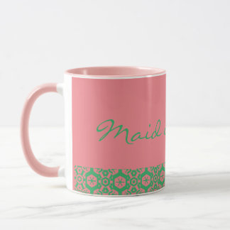 Maid of honor mug pink and green cuteness