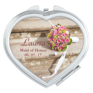 Maid of Honor Personalize Floral Bouquet Makeup Mirrors