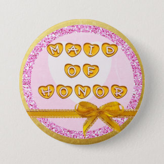 Maid of Honor Pink and Gold Button