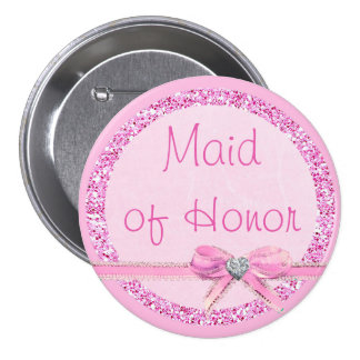 Maid of Honor  Pink Bow Faux Glitter Button
