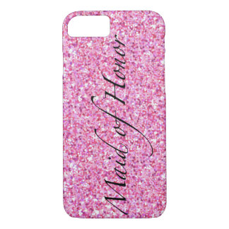 Maid of Honor Pink Glitter Phone Case