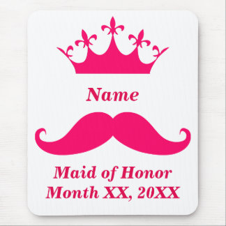 Maid of Honor Pink Mustache Mousepad