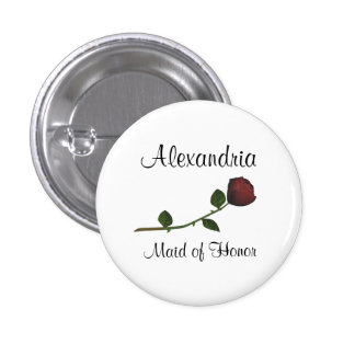 """""""Maid of Honor"""" - Red Long Stemmed Rose [a2] 1 Inch Round Button"""