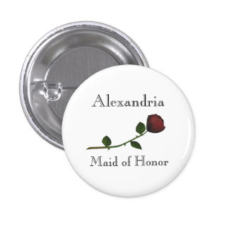 """""""Maid of Honor"""" - Red Long Stemmed Rose [a] 1 Inch Round Button"""