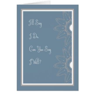 Maid of Honor Request, Medium Blue & Flowers Card