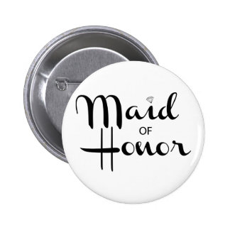 Maid of Honor Retro Script Pinback Buttons