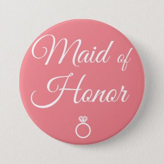 Maid of honor ring 3 inch round button