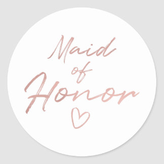 Maid of Honor - Rose Gold faux foil sticker