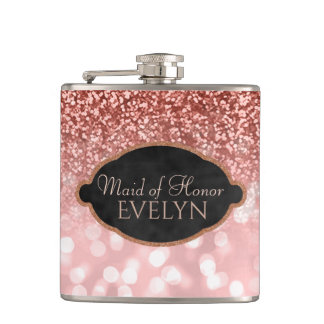 Maid of Honor Rose Gold Glitter Custom Wedding Hip Flask