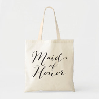 Maid of Honor Script Bridal Party Wedding Tote Bag