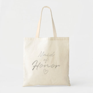 Maid of Honor - Silver faux foil tote bag