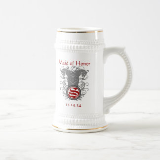 Maid of Honor Stein Wedding Vintage Lion Swirl