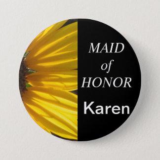 Maid Of Honor Sunflower Wedding Button