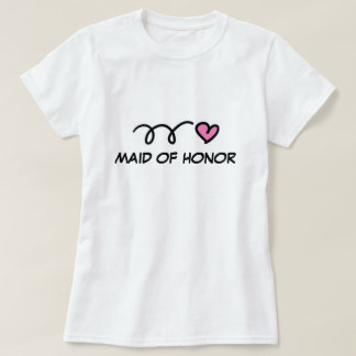 Maid of honor t shirt with pink heart