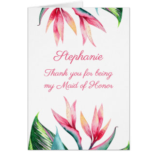 Maid of Honor Thank you Bird of Paradise Card