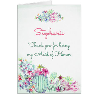 Maid of Honor Thank You Cactus & Succulents Card
