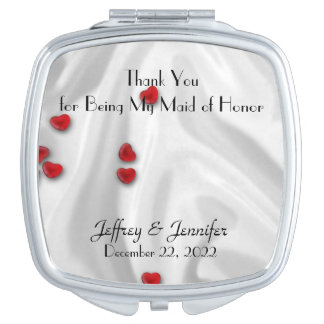 Maid of Honor Thank You Hearts Compact Mirror