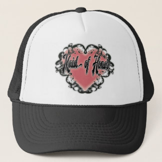 maid of honor vintage heart tattoo trucker hat