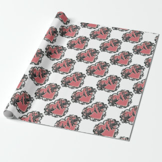 maid of honor vintage heart tattoo wrapping paper