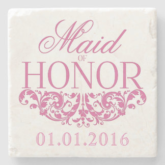 Maid of Honor wedding stone coasters Save the Date