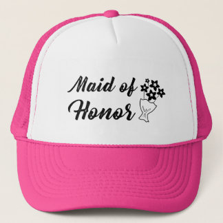 Maid of Honor with Bouquet Wedding Gift Trucker Hat