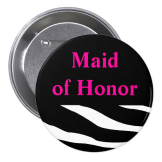 Maid Of Honor Zebra Button